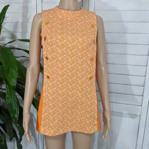 Vintage Style Mini Dress Handmade Orange XS